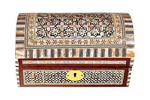 (Mosaic Handmade, Mother of Pearl Engraved, Decorative Wooden Jewelry/Trinket Box | Premium Materials & Craftmanship (Brown & Beige) (Large))