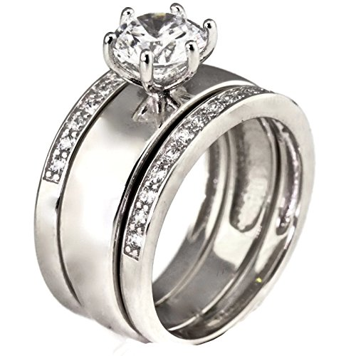 Rhodium Plated Sterling Silver CZ Cubic Zirconia Womens Solitaire Engagement Ring Wedding Ring Set Wide Band