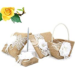 Lznlink 5 Pcs/ Set Burlap Wedding Guest Book+Pen+Pen Stand+Ring Pillow+Flower Basket Sets Decor Supplies