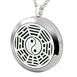 Popeoiuh Essential Oil Diffuser Necklace Hypoallergenic Stainless Steel Aromatherapy Gossip Yin Yang Locket Pendant Jewelry Sets Gift for Women Men Boys Girls Kids