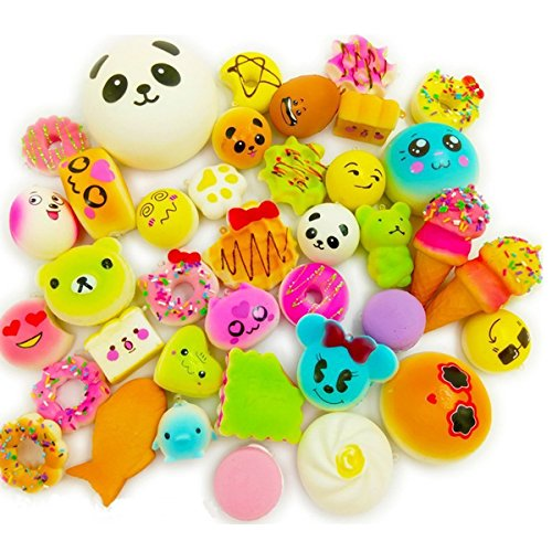 CloverTale 20 Pack Squishy Toy Jumbo Food Squishise Cat Hamburgers Cream Scented Slow Rising Squishies Charms, Kid Toy, Lovely Toy Stress Relief Toy Cell Phone Straps Key Chains Stress Relief toy