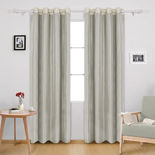 Deconovo Thermal Insulated Panels Dupioni Silk Total Blackout Window Treatment Drapes Room Darken Curtains, 52×84, Beige