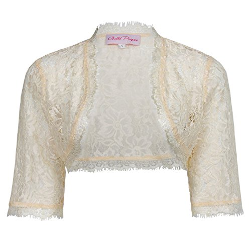 - Belle Poque Fashion Eyelash Lace Crochet Bolero for Halloween, 319 Apricot, X-Large