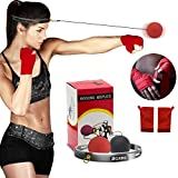 MiJiTec Boxing Reflex Ball, Fight Reaction Ball with Hand Wraps,Boxing Training Tool for Improving Speed Reaction and Hand Eye Coordination