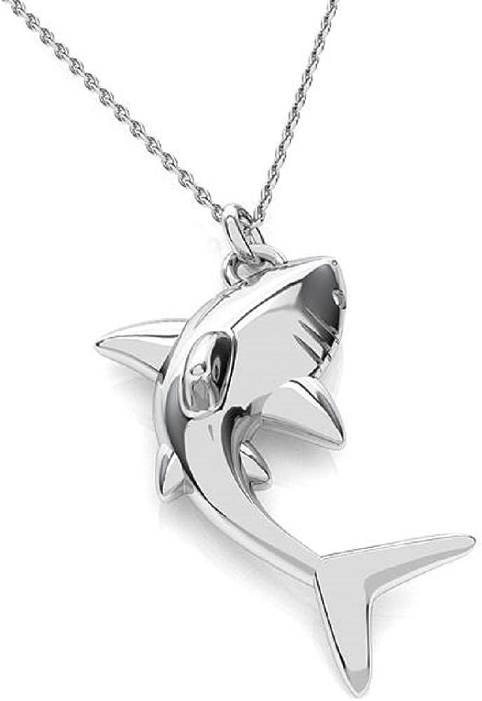 Collar con colgante de tiburón en plata de ley 925 de Cristals & Stones, regalo para madres PIN/75
