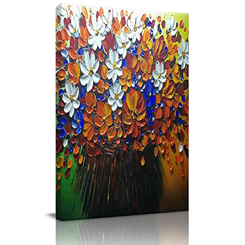 Canvas Prints Wall Art Hand Painting Colorful Neroli Flower Bouquet Home Decor Canvas Prints Giclee Printing Wrapped Stretched Wooden Framed Ready to Hang 28x20 Inch ()