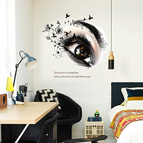 Snowfoller DIY Wall Decals Wallpaper Beautiful Eyes TV Background Wall Decoration Removable Wall Stickers