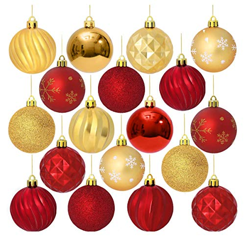 (Unomor Christmas Tree Ornaments, 6 Patterns 24Pack Red and Gold Shatterproof Christmas Ornaments-60MM)