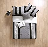 new york bed in a bag - Queen Size Complete BED-IN-A-BAG in Black / White Elegant Pleated 8 Pc Set w/ Decorative Pillows