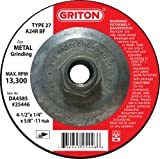 Griton DA4585 Type 27 Grinding Wheel Used on Metal with Hub, Aluminum Oxide, 13300 RPM, 4.5'' Diameter (Pack of 10)
