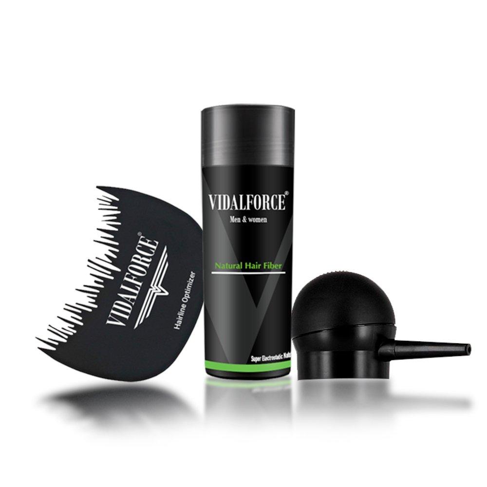 VidalForce Fibra Capilar 27,5g + Bomba + Optimizador/Castaño Oscuro /: Amazon.es: Belleza