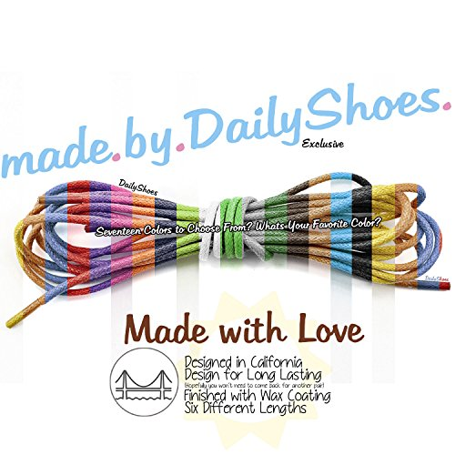 DailyShoes Round Waxed Shoelaces Oxford Flat Dress Canvas Shoe Laces (One Pair)