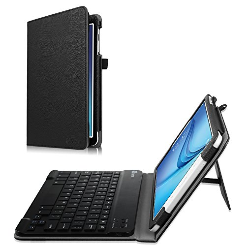 Fintie Keyboard Case for Samsung Galaxy Tab E 9.6 - Slim Fit PU Leather Stand Cover with Premium Quality [All-ABS Hard Material] Removable Wireless [Long Life Battery] Bluetooth Keyboard, Black (Samsung Galaxy Tab E Case With Keyboard)