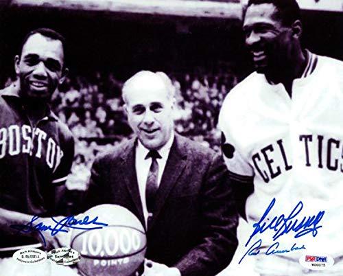 Bill Russell, Red Auerbach & Sam Jones Autographed 8x10 Photo Boston Celtics #W00075 - PSA/DNA Certified