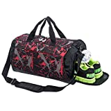 wet shoe bag - Sports Gym Bag with Shoes Compartment Travel Duffel Bag for Men and Women (light red)