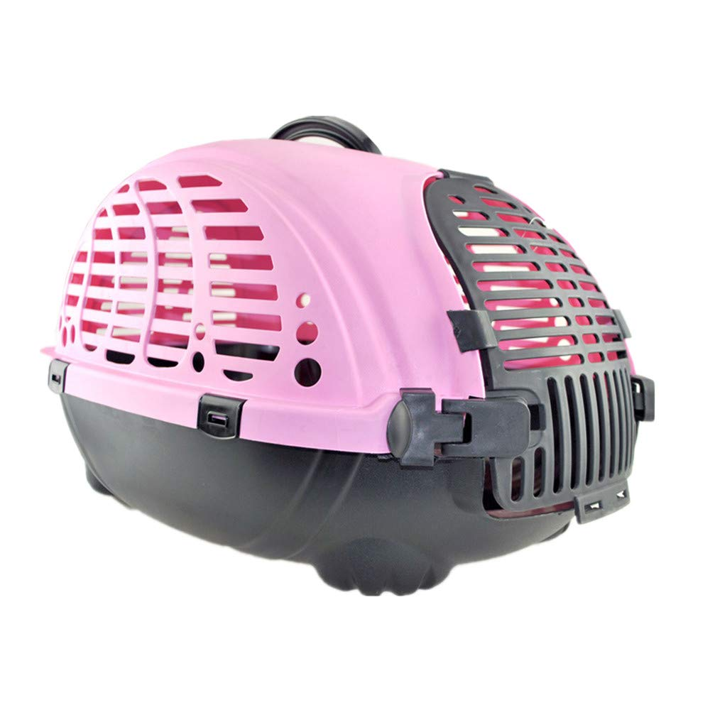 FZQ Pet Transport Box, Ventilation Grid Structure, Convenient Handle Design, Non-Slip Bottom, Comfortable and Durable, Suitable for Cat and Dog Travel,Pink