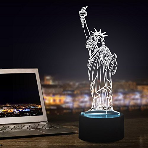 Tons 3D Night Light Colorful Touch Control Light 7 Colors Change USB LED for Desk Table with Multicolored USB Powered Home Decoration Best Gift for Kids (Statue Of -