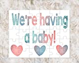 Baby Announcement ideas we're having a baby puzzle cardboard glossy