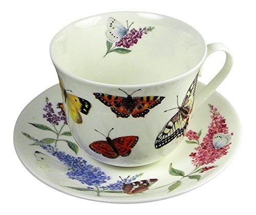 Fine China Garden Bouquet (Roy Kirkham Butterfly Garden Large Breakfast Tea Cup Teacup and Saucer Set Fine Bone China)