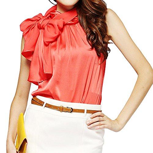 Silk Bow Collar Sleeveless Shirt Blouse for Womens TC01 (L, Orange)
