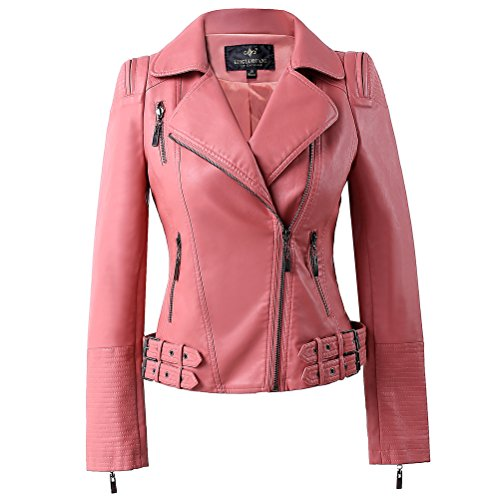 LingLuoFang LLF Womens Faux Leather Zip Up Moto Biker Jacket With Many Details Medium Pink (15H102)