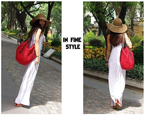 Frauen Taschen, Damen Handtaschen, Stroh-Beutel Sommer-Strand-Handtasche Schulter Beutel