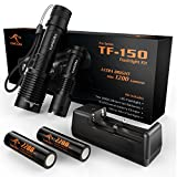 KANGORA Cree LED Flashlight Kit - 5 Modes - Waterproof Handheld Flashlights with Rechargeable 18650 Battery Charger for Camping, Hiking, Cycling, and Emergency Search Missions