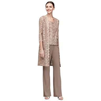 efb3eedd28a88 Three-Piece Pantsuit with Long Lace Jacket Style 1993 at Amazon ...
