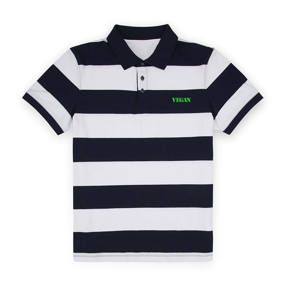 Mens Vegetarian Vegan Embroidered Knit Striped Short Sleeve Polo Shirts