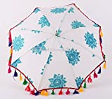Indian Sun Protection Womens Stye Embroidery Umbrella Boho Summer Parasol 25 Inch Approx. For Sale