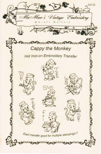 Vintage Little Monkey Bellhop Hot Iron Embroidery Transfers ()
