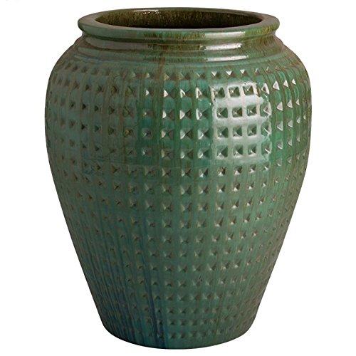 Waffle Ceramic Planter - Green