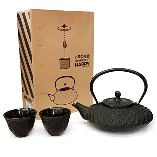 Happy Sales HSCT-MCB15, Cast Iron Tea Pot Tea Set Shogun, Bl