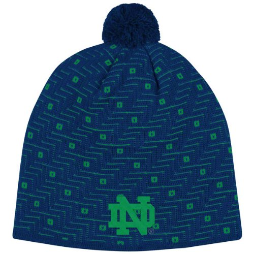 Notre Dame Fighting Irish Women's Adidas Knit Pom Beanie Cap Hat - Navy Blue & ()