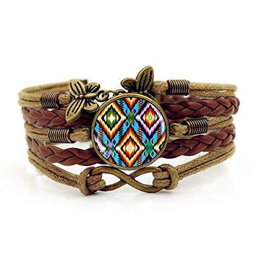 Handmade Knitted Leather Bracelet Colorful Native American Art Multilayer Glass Bracelet Brown