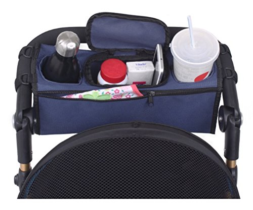 CUTE NUT Parent Stroller Organizer and Premium Deep Cup Holders Universal Fit Baby Jogger Parent Console Red