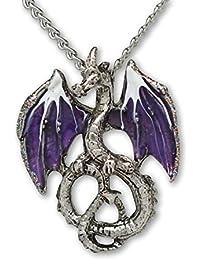 Mystical Purple Dragon Medieval Renaissance Pendant Necklace