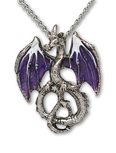 - Mystical Purple Dragon Medieval Renaissance Pendant Necklace