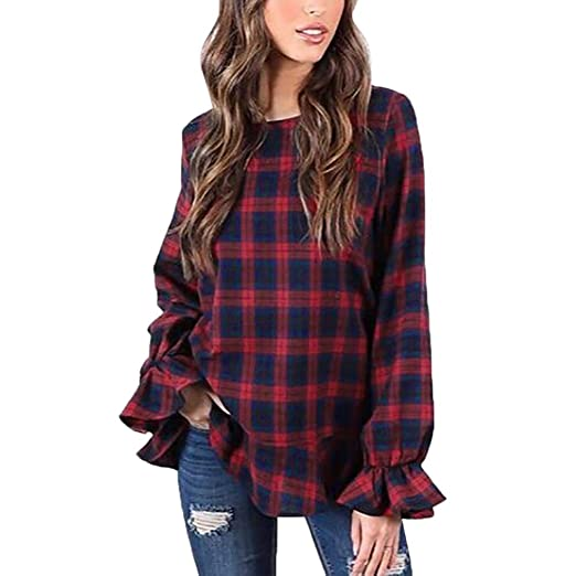 ce69db3677e7a Owill Women Blouse Fashion O-Neck Plaid Printed Zipper Ruffles Long Sleeve Tops  Shirt (