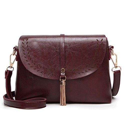 femme PU Brown Sac Couleur à Vintage Sac bandoulière cuir à main Tassel 2 à Bag A bandoulière Handbag pour en Sac Crossbody I0awqq
