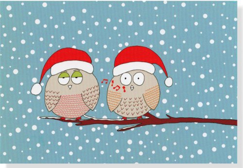 Whistling Owls Small Boxed Holiday Cards (Christmas Cards, Holiday Cards, Greeting Cards)