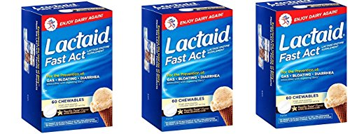 Lactaid, Chewables, Vanilla Twist, 60 EQXdaR Count (Pack of 3) by Lactaid