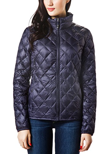 XPOSURZONE Women Packable Down Quilted Jacket Lightweight Puffer Coat Night Shade - M Shades