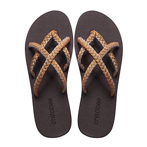 chitobae Flip Flops Sandal for Women Mango Smoothie 8 B(M) US ()