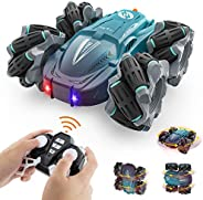 Growsland Remote Control Car for Boys - 4 WD RC Stunt Cars Rechargeable Double Sided 360° Rotating 45°Drift Re