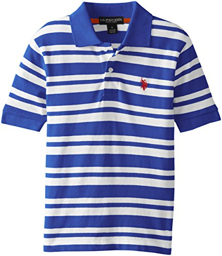 Big Boys' 2 Color Striped Pique Polo Shirt