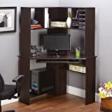 Small Corner Home Office Computer Desk with Hutch [Expresso], keyboard Shelf, Bookcase and CD/DVD Storage bay Modern Designe Perfect for Study Room, Home Office and Ideal For Small Spaces will fit in any corner. by Morgan