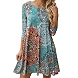 TOPUNDER Women Clothing Bohemian Swing Dress for Women Boho Beach Knee Length Sundress Plain Boatneck