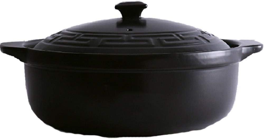 Color : Black, Size : Capacity 3L Mise /À Niveau Nutritionnel Sain Et Durable Tout Le Corps De Gla/çage GMING Casserole De Cuisine Pot Ceramique Pot en Terre Cuite,la Cuisson /À Haute Temp/érature