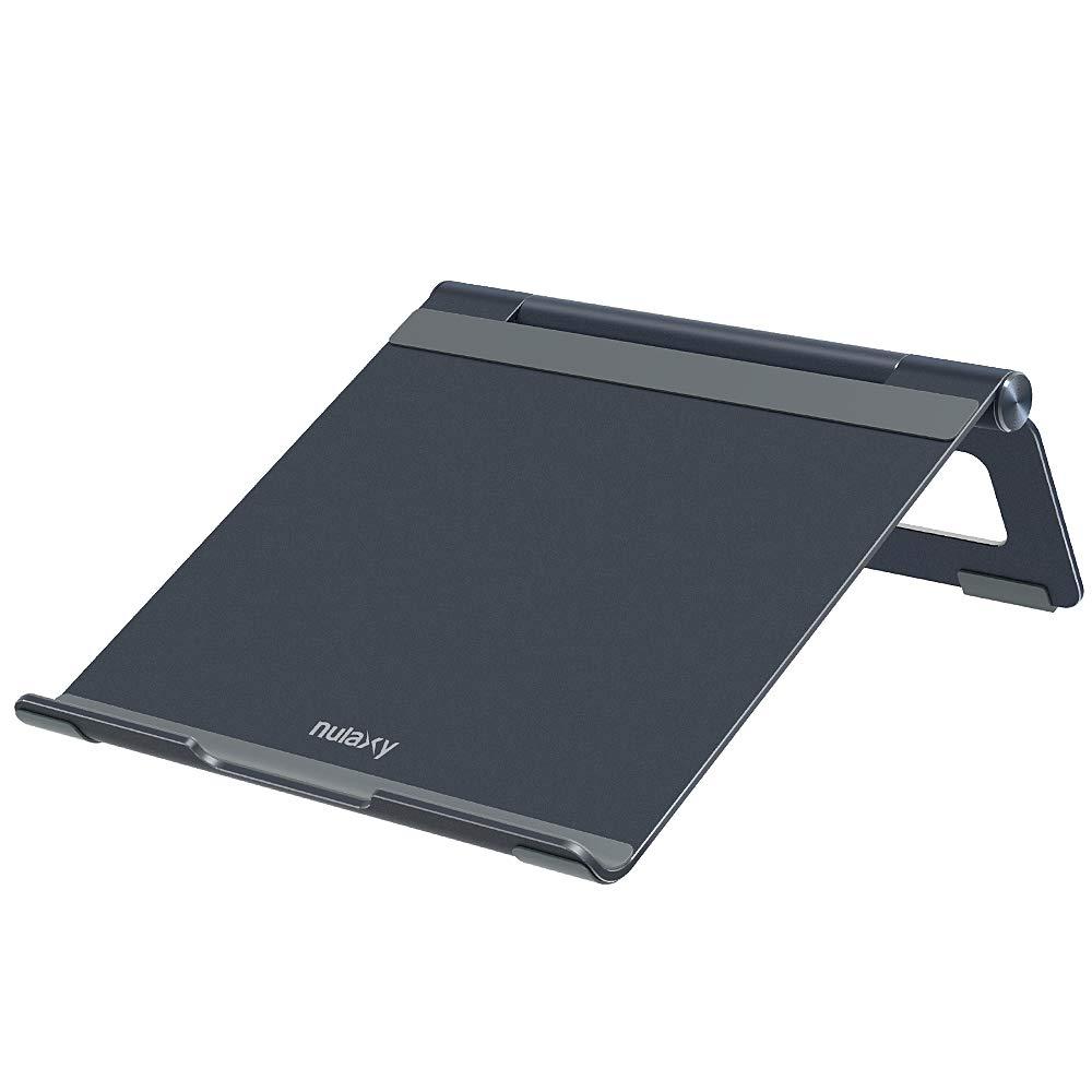Nulaxy Adjustable Multi-Angle Foldable Aluminum Laptop Stand MacBook Pro/Air, Apple Laptop, 7-17'' Notebook Tablet Desktop Space-Saving Holder Anti-Slip Silicone Pad, Grey